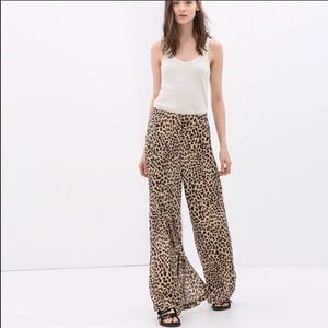 Zara leopard palazzo pant